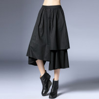 Casual pants black S,M,L Spring 2021 Cropped Trousers Wide leg pants Natural waist Versatile routine 35-39 years old 96% and above K-6957 Within reach other pocket cotton