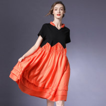 Dress Summer 2021 Orange S,M,L Mid length dress singleton  Short sleeve street V-neck Loose waist Solid color Socket Big swing routine Others 35-39 years old Type A Within reach Ruffles, ruffles, folds, pockets, stitching, waves L-7880 51% (inclusive) - 70% (inclusive) Poplin other Europe and America