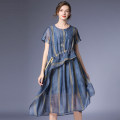 Dress Summer 2021 Blue, red, black S,M,L Mid length dress singleton  Short sleeve street Crew neck Loose waist stripe Socket Big swing routine Others 35-39 years old Type A Within reach More than 95% organza  other Europe and America