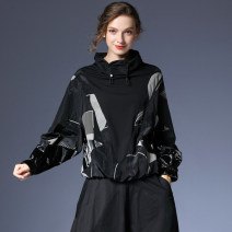 short coat Spring 2021 S,M,L Black, apricot Long sleeves routine routine singleton  Bat type street Bat sleeve stand collar Frenulum other 35-39 years old Within reach 51% (inclusive) - 70% (inclusive) Fold, pocket, lace, thread, strap, wave, button, stitching, printing, pleating W-7028 other Viscose