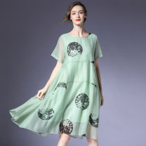 Dress Summer 2020 Black, green, orange S,M,L Mid length dress singleton  Short sleeve street Crew neck Loose waist Decor Socket A-line skirt routine Others 35-39 years old Type A Within reach Tuck, fold, pocket, stitching, wave, print L-7879 More than 95% Poplin other Europe and America