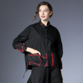shirt Black, red S,M,L Spring 2021 cotton 96% and above Long sleeves street Regular Polo collar Single row multi button routine other 35-39 years old High waist type Within reach C-6970 Embroidery, stitching, pleating, pleating, pockets, thread decoration, waves, buttons Europe and America