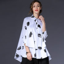 shirt White, black S,M,L Spring 2021 cotton 71% (inclusive) - 80% (inclusive) three quarter sleeve street Medium length Polo collar Three buttons routine Dot 35-39 years old High waist type Within reach C-5701 Stitching, printing, pleating, pleating, line decoration, wave, button, swallow tail