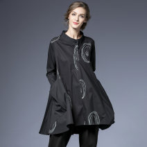 shirt black S,M,L Spring 2021 cotton 96% and above Long sleeves Versatile Medium length stand collar Single row multi button routine Dot 35-39 years old High waist type Within reach C-5397 Stitching, printing, pleating, pockets, thread embellishment, waves, buttons
