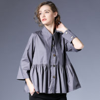 shirt Grey, black, army green S,M,L Spring 2021 cotton 96% and above three quarter sleeve commute Regular Polo collar Single row multi button routine Solid color 35-39 years old High waist type Within reach literature C-5987 Stitching, pleating, pleating, line decoration, wave, button