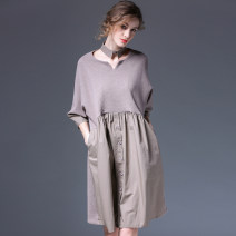 Dress Spring 2021 Black, Khaki S,M,L Mid length dress singleton  three quarter sleeve street V-neck Loose waist Solid color Socket Big swing Bat sleeve Others Type A Within reach Patch, fold, pocket, stitching, wave, button L-3567 81% (inclusive) - 90% (inclusive) knitting cotton Europe and America