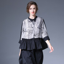 shirt black S,M,L Spring 2021 other 96% and above three quarter sleeve Versatile Regular stand collar Single row multi button routine other 35-39 years old High waist type Within reach C-5027 Stitching, printing, pleating, pleating, thread decoration, wave, button, mesh
