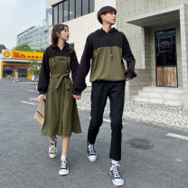 Sweater / sweater Autumn 2020 Women's dress, men's sweater, men's pants, men's suit [sweater + pants] S,M,L,XL,2XL,3XL Long sleeves routine Socket singleton  routine Crew neck easy commute routine Solid color 51% (inclusive) - 70% (inclusive) Korean version cotton cotton