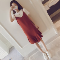 Dress Other / other Black, red, [collection baby + small gift from collection store] XXL,XL,L,M Korean version Short sleeve Medium length summer Crew neck Solid color