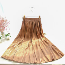 skirt Summer 2020 Average size brown Mid length dress commute High waist A-line skirt Solid color Type A 71% (inclusive) - 80% (inclusive) other Bright silk Korean version