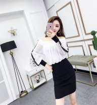 Dress Spring 2021 S,M,L,XL Short skirt Fake two pieces Short sleeve commute One word collar middle-waisted other Socket One pace skirt Flying sleeve Others 25-29 years old Type H Korean version Stitching, printing 51% (inclusive) - 70% (inclusive) Chiffon polyester fiber