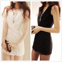 Dress Spring 2021 [8014] white, [8014] black, [striped T-shirt] different styles S,M,L,XL Short skirt singleton  Sleeveless commute V-neck Solid color Socket straps 18-24 years old Korean version fold Chiffon