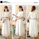 Dress Spring 2021 White (free belt) S,M,L,XL,2XL longuette singleton  Short sleeve Sweet Crew neck middle-waisted Solid color zipper Pleated skirt puff sleeve Others Other / other Chiffon polyester fiber Bohemia