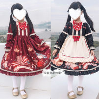 Dress Red + hair accessories, black + hair accessories, red + Hair Accessories + apron, black + Hair Accessories + apron, single red dress, single black dress female Other / other 90-100cm,110-120cm,130-140cm,140-145cm Other 100% spring and autumn princess other Chinese Mainland Guangdong Province