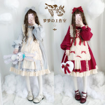 Dress Autumn of 2019 S,M,L longuette Fake two pieces Long sleeves Sweet Doll Collar Cake skirt Type A Lolita