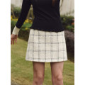 skirt Winter 2020 XS,S,M Black and white check, pre-sale, black and white check Short skirt High waist A-line skirt Type A 31% (inclusive) - 50% (inclusive) wool