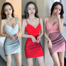 Dress Spring 2021 White, pink, red, black S,M,L,XL Short skirt singleton  Sleeveless commute V-neck High waist Solid color Socket One pace skirt routine camisole backless