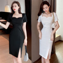 Dress Summer 2021 White, black S,M,L Middle-skirt singleton  Short sleeve commute High waist Solid color zipper One pace skirt routine zipper