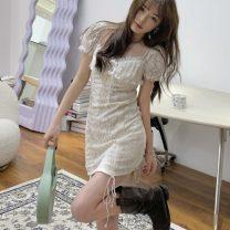 Dress Summer 2021 white S, M Short skirt singleton  Short sleeve One word collar High waist Solid color Socket One pace skirt Lace