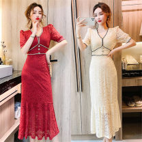 Dress Summer 2021 White, off white, red, black S,M,L Mid length dress singleton  Short sleeve commute V-neck Solid color zipper Ruffle Skirt routine Korean version Stitching, buttons, lace Lace