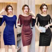 Dress Spring 2021 Blue, black, jujube S,M,L Short skirt singleton  street zipper Europe and America