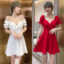 Dress Spring 2021 White, red, black S,M,L Short skirt singleton  Short sleeve commute V-neck High waist Solid color Socket A-line skirt routine Type A backless