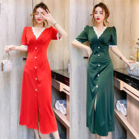 Dress Summer 2021 Red, green, black S,M,L Mid length dress singleton  Short sleeve commute V-neck middle-waisted Solid color zipper other other Korean version Stitching, buttons, lace