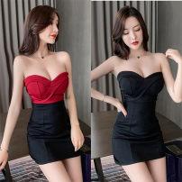 Dress Summer 2021 S,M,L,XL singleton  Short sleeve commute zipper Breast wrapping Korean version