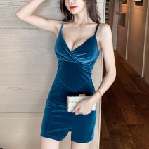 Dress Autumn 2020 Red, blue, black S,M,L,XL Short skirt singleton  Sleeveless commute V-neck Solid color zipper camisole Korean version