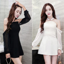 Dress Spring 2021 White, black S,M,L Short skirt One word collar Hanging neck style