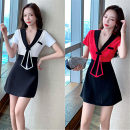 Dress Spring 2021 White, red S,M,L Short skirt singleton  Short sleeve commute V-neck High waist Solid color Socket A-line skirt routine Type A Korean version Splicing