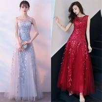 Dress / evening wear wedding S,M,L,XL Dark blue, red, silver grace longuette High waist Spring 2021 Fluffy skirt zipper Netting Embroidery machine embroidery