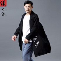 Windbreaker black Han source Youth fashion Average size No buckle Medium length Extra wide Other leisure autumn youth Lapel Chinese style Polyester 60% cotton 25% flax 15% Solid color Cotton and hemp Embroidery hemp Less than 30%