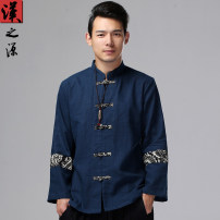 National Costume Han source M,L,XL Blue, dark red Tang costume autumn leisure time youth 2016 hemp Solid color washing Button decoration Calico