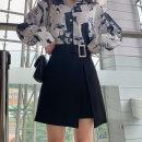 skirt Autumn of 2019 M,L,XL,2XL,3XL,4XL black Short skirt commute High waist Irregular Solid color Type A 18-24 years old other polyester fiber Asymmetric, zipper, elastic waist Ol style