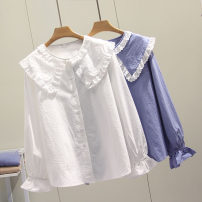 shirt White, blue Large XL, large 2XL, large 3XL, large 4XL Autumn of 2019 cotton 91% (inclusive) - 95% (inclusive) Long sleeves commute Regular Doll Collar Single row multi button routine Solid color Straight cylinder Korean version Three dimensional decoration