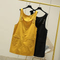 Women's large Spring 2020 Yellow, black The recommended weight for 2XL is 130-150 kg, that for 3XL is 150-180 kg, and that for 4XL is 180-210 kg Dress singleton  commute Socket Sleeveless Solid color Korean version cotton Three dimensional cutting 25-29 years old pocket Medium length straps