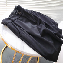 Women's large Summer 2020 black 2XL reference weight 120-145 kg, 3XL reference weight 145-175 kg, 4XL reference weight 175-200 kg trousers singleton  commute moderate Solid color Korean version Three dimensional cutting 25-29 years old Button 91% (inclusive) - 95% (inclusive) Pant