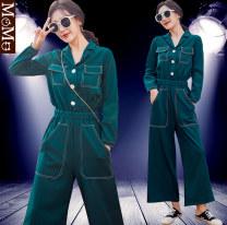 Casual pants green M,L,XL Autumn 2020 trousers Wide leg pants High waist Versatile routine 81% (inclusive) - 90% (inclusive) polyester fiber pocket polyester fiber Asymmetry