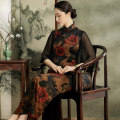 cheongsam Spring 2021 S M L XL XXL XXXL Picture color three quarter sleeve long cheongsam Retro High slit daily Oblique lapel Over 35 years old Piping E20509 Xiyue silk Mulberry silk 100% Pure e-commerce (online only) 96% and above