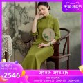 cheongsam Spring 2021 S M L XL XXL XXXL White green three quarter sleeve long cheongsam Retro High slit daily Oblique lapel Over 35 years old Piping E21010 Xiyue silk Mulberry silk 100% Pure e-commerce (online only) 96% and above
