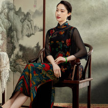 cheongsam Summer 2021 S M L XL XXL XXXL Picture color three quarter sleeve long cheongsam Retro High slit daily Oblique lapel Over 35 years old Piping E21001 Xiyue silk Mulberry silk 100% Pure e-commerce (online only) 96% and above