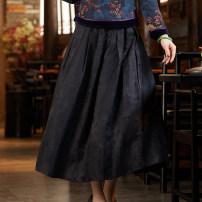skirt Winter of 2019 S M L XL XXL XXXL black longuette commute Natural waist A-line skirt other 35-39 years old E-2002 51% (inclusive) - 70% (inclusive) Xiyue Viscose jacquard weave Retro Viscose (viscose) 68% Silk 32% Pure e-commerce (online only)