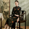 cheongsam Spring 2021 S M L XL XXL XXXL Long sleeves long cheongsam Retro High slit daily Oblique lapel Over 35 years old Piping Xiyue silk Mulberry silk 100% Pure e-commerce (online only) 96% and above