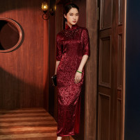cheongsam Winter 2020 S M L XL XXL XXXL Red 120cm red 130cm blue 120cm blue 130cm Short sleeve long cheongsam Retro High slit daily Oblique lapel Over 35 years old Piping E20376 Xiyue silk Mulberry silk 100% Pure e-commerce (online only) 96% and above