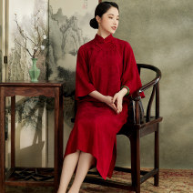 cheongsam Spring 2021 S M L XL Red green Beige Long sleeves long cheongsam Retro High slit daily Oblique lapel Over 35 years old Piping M20296 Xiyue other Viscose (viscose) 80% flax 20% Pure e-commerce (online only) 71% (inclusive) - 80% (inclusive)