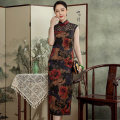 cheongsam Summer 2021 S M L XL XXL XXXL 120cm 130cm Sleeveless long cheongsam Retro High slit daily Oblique lapel Over 35 years old Piping E20505 Xiyue silk Mulberry silk 100% Pure e-commerce (online only) 96% and above