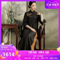 Dress Spring 2021 black XXL S M L XL longuette Two piece set three quarter sleeve commute stand collar Socket A-line skirt routine Others 35-39 years old Type A Xiyue Retro More than 95% silk Mulberry silk 100% Pure e-commerce (online only)