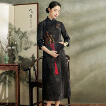 cheongsam Spring 2021 S M L XL XXL XXXL black three quarter sleeve long cheongsam Retro High slit daily Oblique lapel Over 35 years old Piping E20498 Xiyue silk Mulberry silk 100% Pure e-commerce (online only) 96% and above