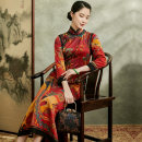 cheongsam Spring 2021 S M L XL XXL XXXL Picture color Long sleeves long cheongsam Retro High slit daily Oblique lapel Over 35 years old Piping Xiyue silk Mulberry silk 100% Pure e-commerce (online only) 96% and above